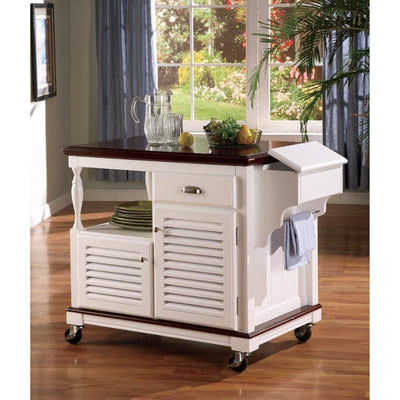 Sophisticated Kitchen Cart With Casters, White And Brown By Coaster