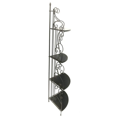 Scrollwork Design Metal Corner Bookcase with Four Wooden Shelves Black and Copper CCA-910038