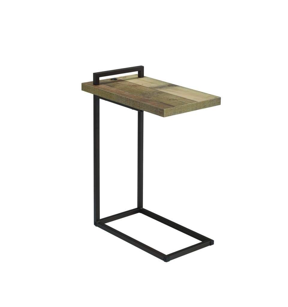 Contemporary Style Metal Accent Table with Wooden Top and USB Port, Brown and Bronze - 931126