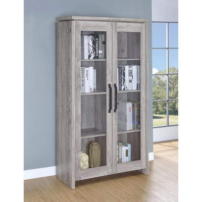 Spacious Wooden Curio Cabinet With Two Glass Doors,  Gray By Coaster