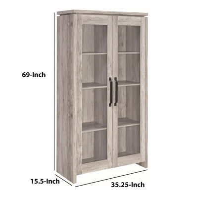Spacious Wooden Curio Cabinet With Two Glass Doors Gray By Coaster CCA-950783