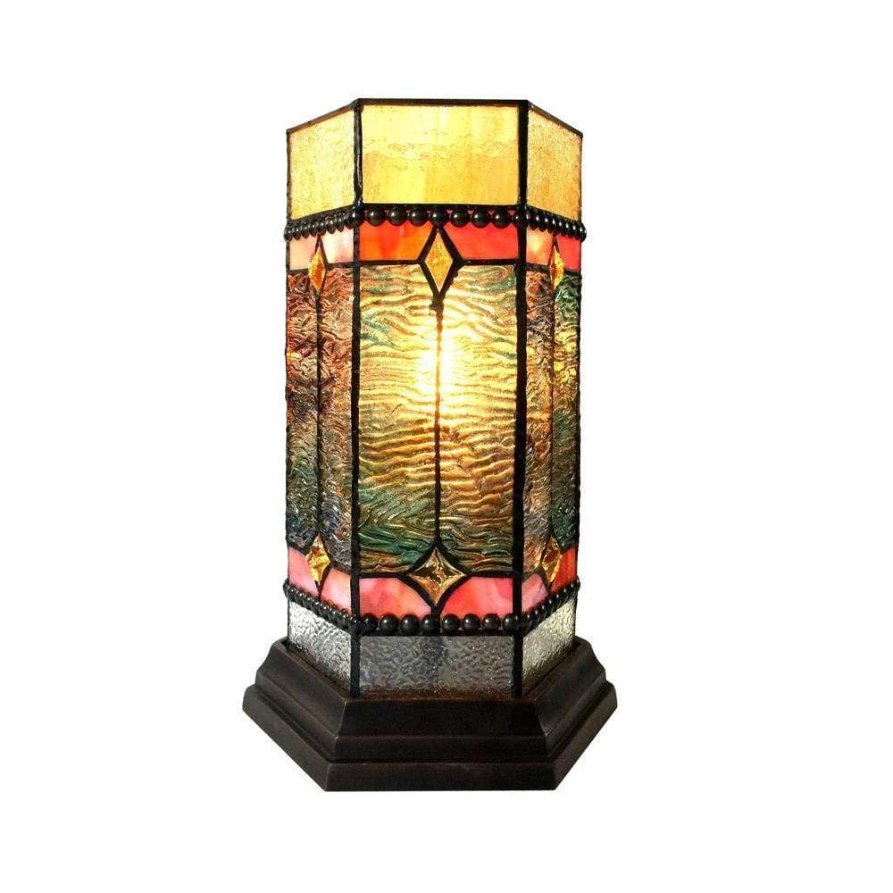 "Neilson Tiffany-Glass Accent Pedestal 1 Light Mission Table Lamp 14"" Tall - CH1T171GM14-TL1"