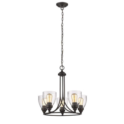 "Elissa Transitional 5 Light Rubbed Bronze Mini Chandelier 22"" Wide - CH2S004RB22-UC5"