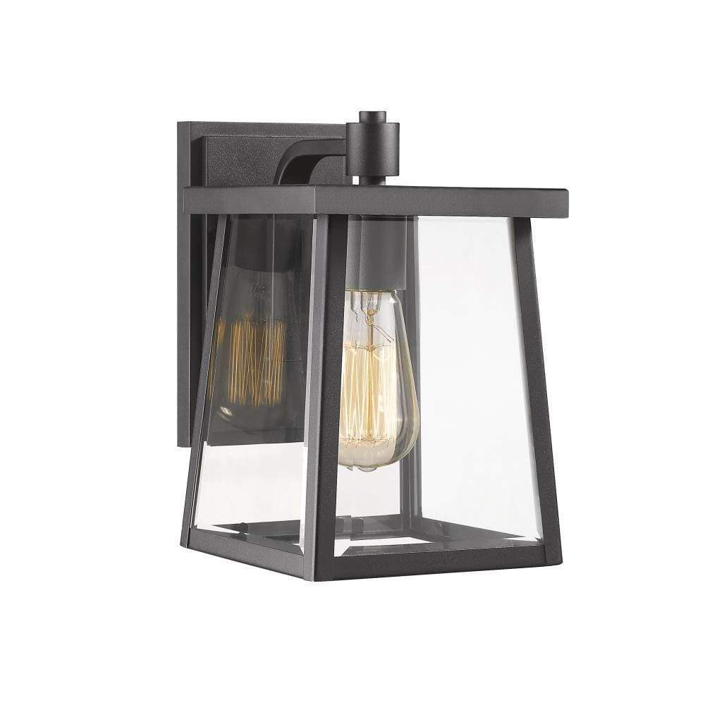 "Gabriel Transitional 1 Light Textured Black Outdoor Wall Sconce 10"" Tall - Ch2s079bk10-od1"
