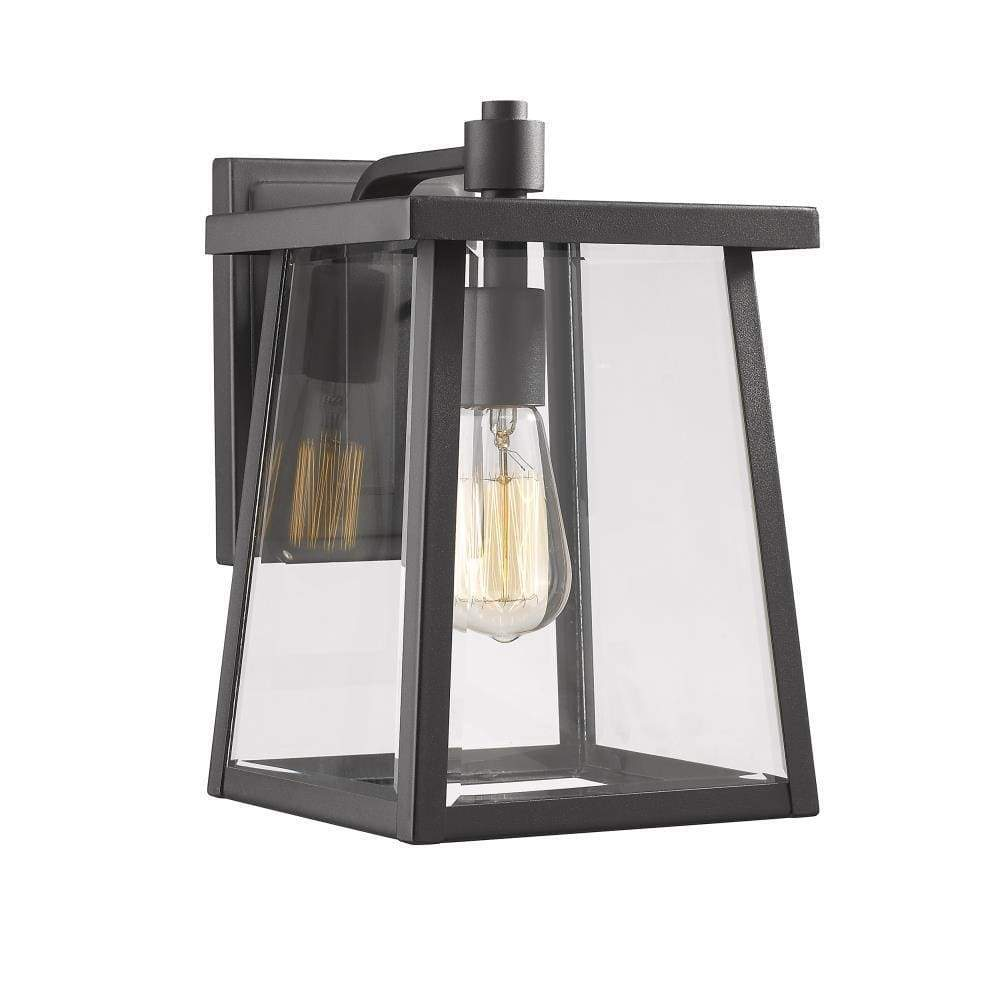 "Gabriel Transitional 1 Light Textured Black Outdoor Wall Sconce 12"" Tall - Ch2s079bk12-od1"
