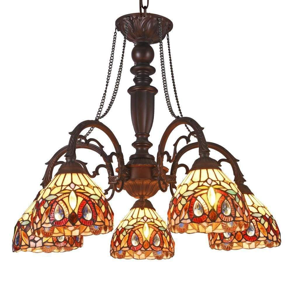 """Serenity Tiffany-Style 5 Light Victorian Large Chandelier 27"""" Wide - CH33353VR27-DC5"""