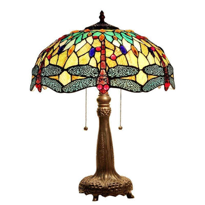 "Empress Tiffany-Style Dragonfly 2 Light Table Lamp 18"" Shade - CH33471BD18-TL2"