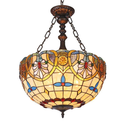 "Liana Tiffany-Style 2 Light Victorian Inverted Ceiling Pendant 18"" Shade - CH3T722AV18-UH2"