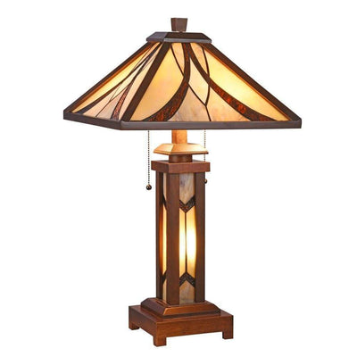 "Gordon Tiffany-Style Mission 3 Light Double Lit Wooden Table Lamp 15"" Shade - CH3T949WM15-DT3"