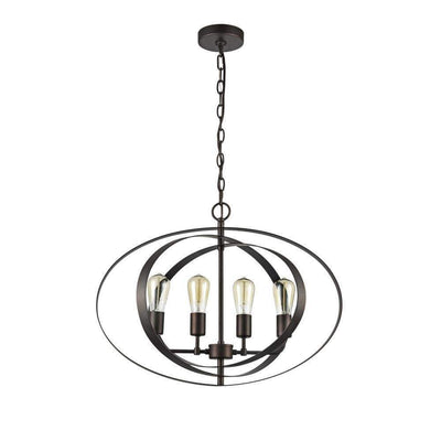 "24"" Wide Osbert Industrial-Style 4 Light Rubbed Bronze Ceiling Pendant- CH59073RB24-UP4"