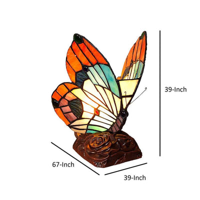 10 Butterfly Accent Table Lamp with Molded Details Multicolor By Chloe Lighting CHL-CH10038OA06-NL1