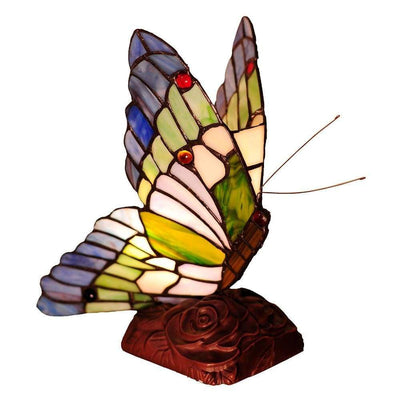"10"" Tiffany Style Metal Table Lamp with Butterfly Design, Multicolor"