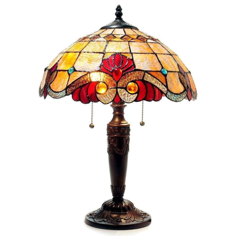 "2 Light Victorian Table Lamp 14.5"" Shade -Shelly Tiffany-style"