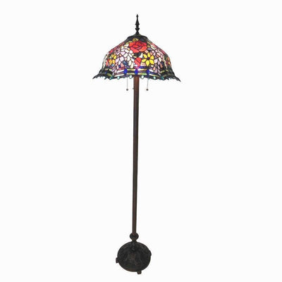 "CHL-CH18340RF20-FL3 Carrell,Tiffany-Style 3 Light Roses Floor Lamp 20"" Shade"