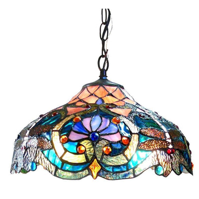 "17"" 2-Light Tiffany Style Stained Glass Pendant Lamp, Multicolor"
