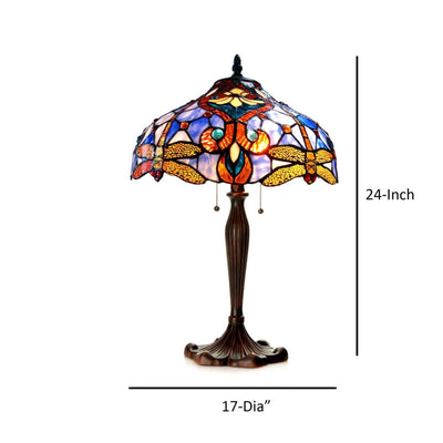 JULIATiffany-style 2 Light Dragonfly Table Lamp 17 Shade CHL-CH1B717BD17-TL2