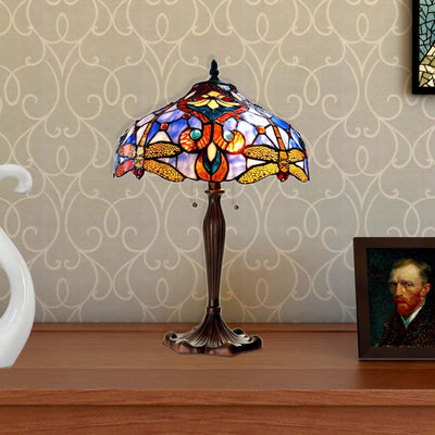 "JULIATiffany-style 2 Light Dragonfly Table Lamp 17"" Shade"
