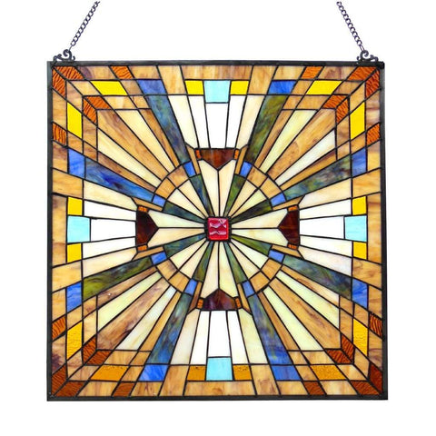FLARE Tiffany-glass Mission Square Window Panel 24""