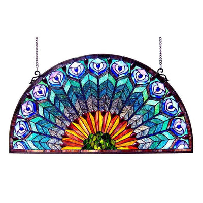 REGAL EUDORATiffany-style Peacock Feather Glass Window Panel 35x18