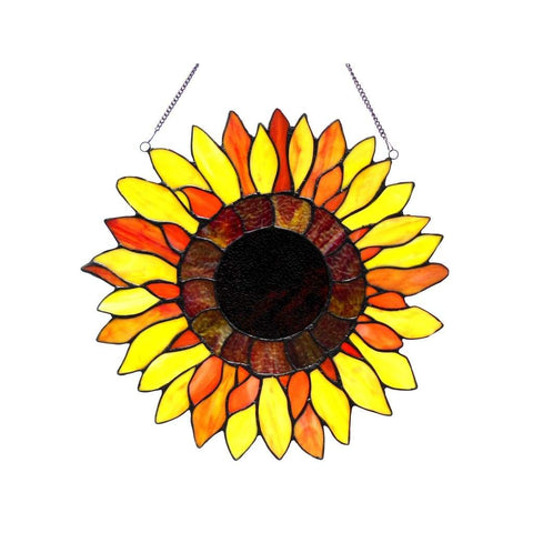 Sunnyville Tiffany-glass Sunflower Window Panel 16""