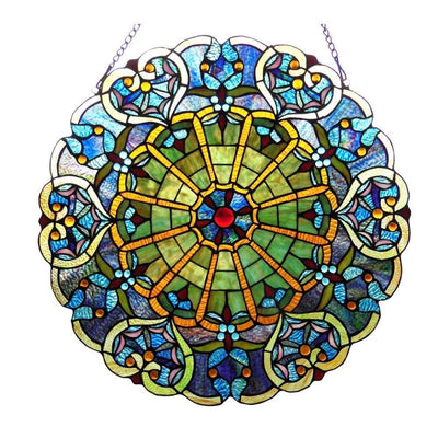 23 Inch Tiffany Style Round Glass Window Screen, Multicolor