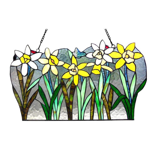 "DAISY Tiffany-glass Flowers Window Panel 23"" Wide"