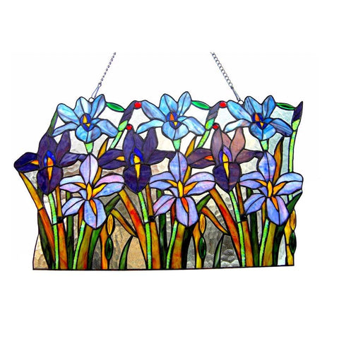 ARIANA Tiffany-glass Iris Window Pane 24' Wide