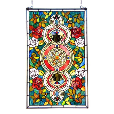 EUREKA SONARATiffany-glass Victorian Window Panel 20x32 -