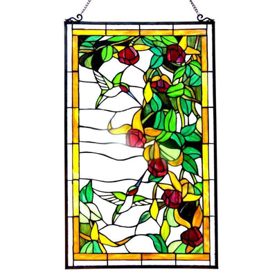 20 Inch Glass Window Panel with Hummingbird Design, Multicolor