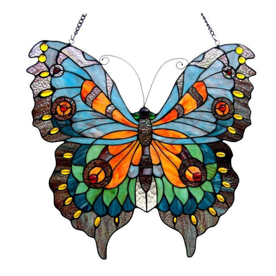 20 Inch Glass Window Panel with Butterfly Design, Multicolor