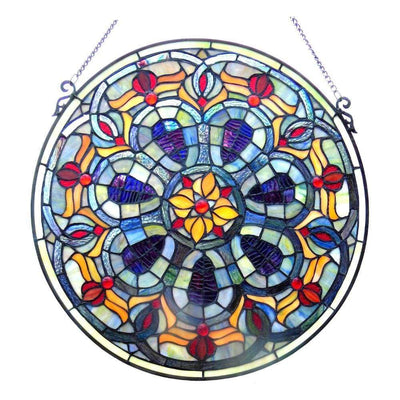 Tiffany-glass Victorian Window Panel 20""