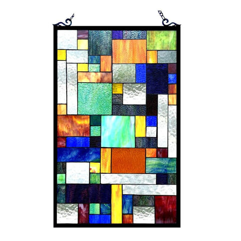 AVANT-GARDE Tiffany-glass Rectangle Window Panel 20x32