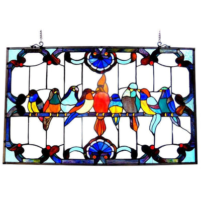 Glass Window Panel with Gathering Bird Design and Hanging Chain, Multicolor