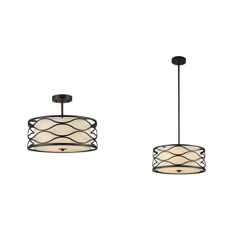 Transitional Style 3 Light Semi Flush Ceiling Fixture, Bronze and Cream