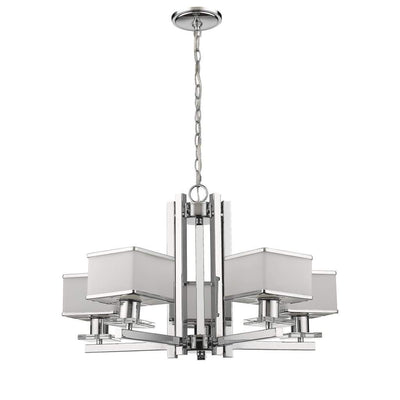 "TRILLUMINATE Contemporary 5 Light Chrome Finish White Opal Glass Chandelier 26"" Wide"