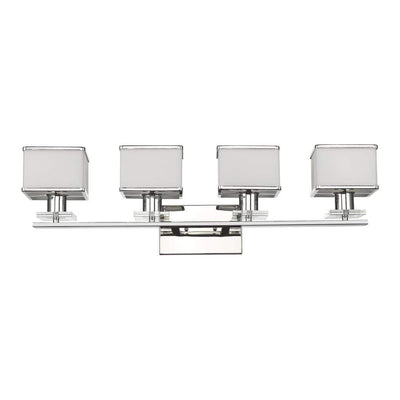 "TRILLUMINATE Contemporary 4 Light  White Bath Vanity Wall Fixture 32"" Wide"
