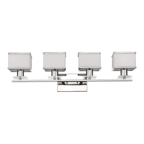 "UNDINE Transitional 4 Light Brushed Nickel Bath Vanity Wall Fixture  32"" Wide"
