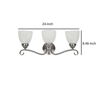 Transitional 3 Light Brushed Nickel Bath Vanity Wall Fixture Alabaster Glass by Chloe Lighting CHL-CH20191BN22-BL3