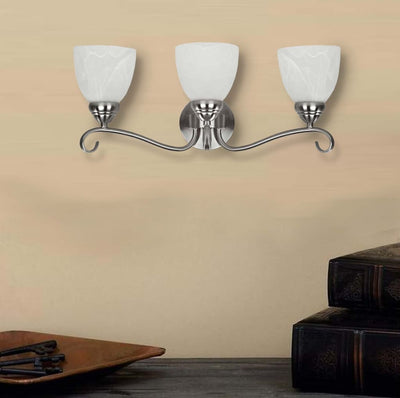 Transitional 3 Light Brushed Nickel Bath Vanity Wall Fixture Alabaster Glass by Chloe Lighting