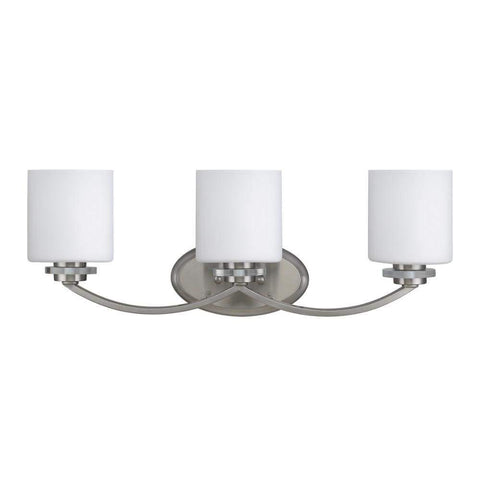 "SOLBI Contemporary 3 Light  Bath Vanity Wall Fixture White Alabaster Glass 24"" Wide"