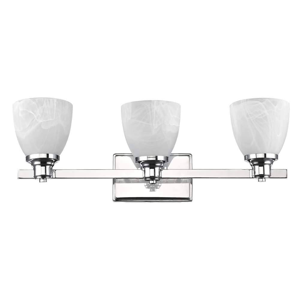 3 Bulb Vanity Light with Metal Frame and Alabaster Shade, Silver and White
