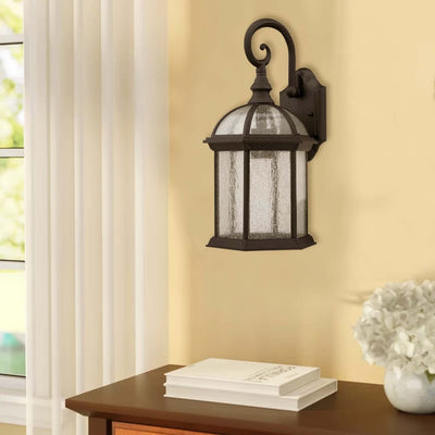 "Havana Divine Transitional 1 Light Black Outdoor Wall Sconce 19"" Height"