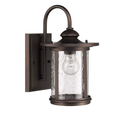 "COLE Transitional 1 Light Rubbed Bronze Outdoor Wall Sconce 16"" Height"