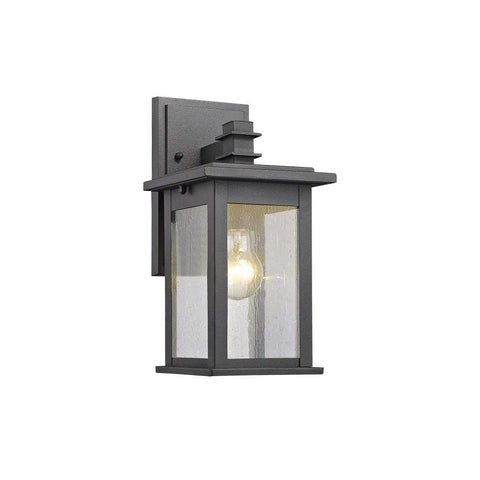 "TRISTAN Transitional 1 Light Black Outdoor Wall Sconce 12"" Height"