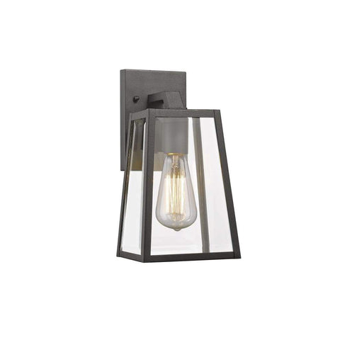 "LEODEGRANCE Transitional 1 Light Black Outdoor Wall Sconce 11"" Height"