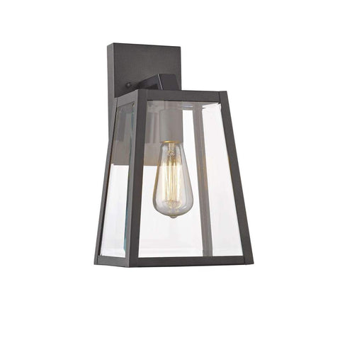 "LEODEGRANCE Transitional 1 Light Black Outdoor Wall Sconce 14"" Height"