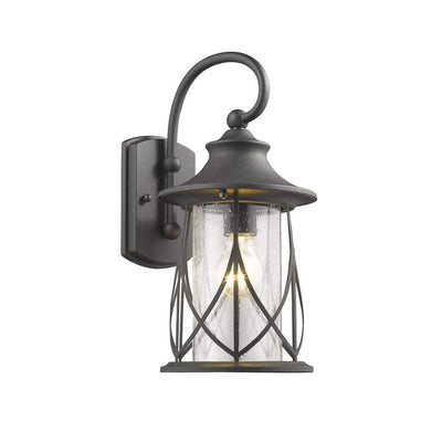 Metal Frame Wall Sconce with Seeded Glass Shade, Black