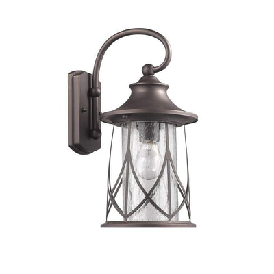 "MARHAUS Transitional 1 Light Rubbed Bronze Outdoor Wall Sconce 15"" Height"