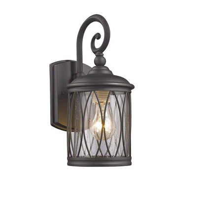 "DINADAN Transitional 1 Light Black Outdoor Wall Sconce 13"" Height"