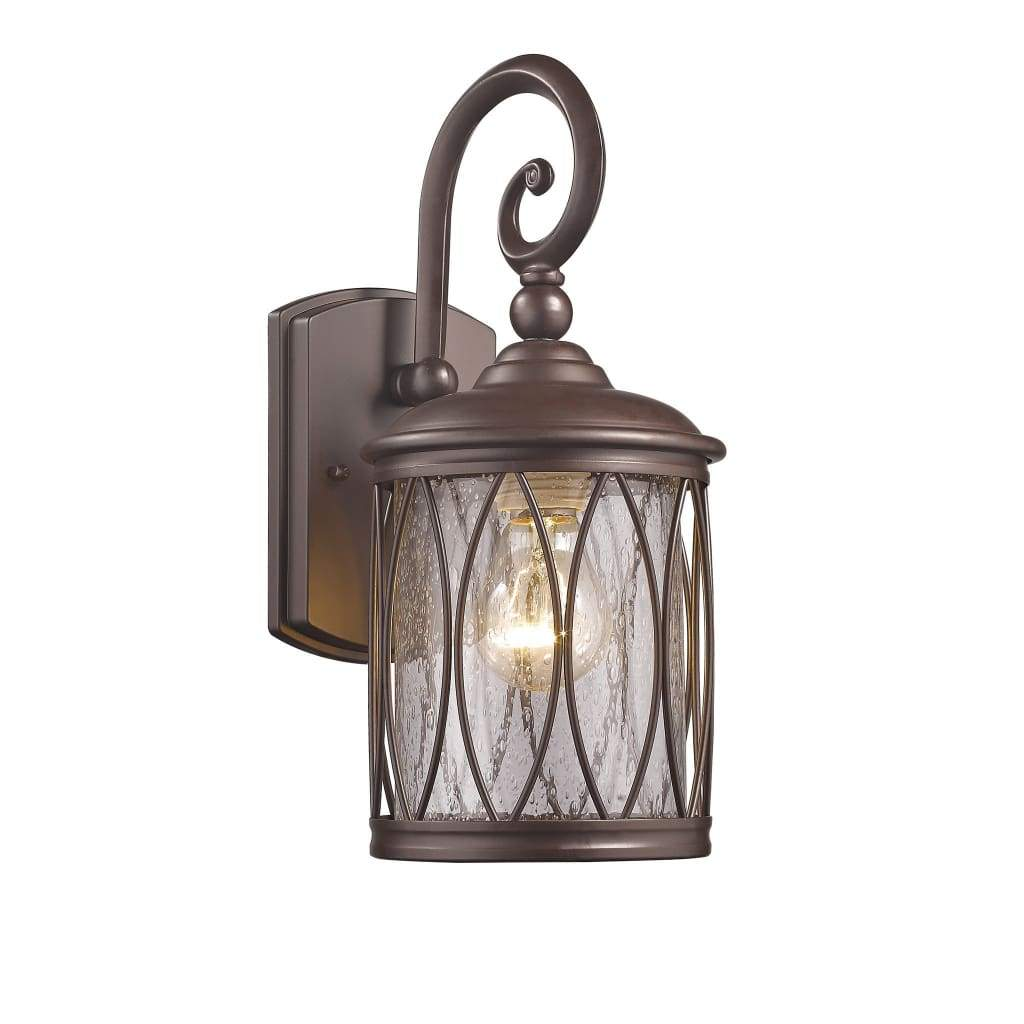 "DINADAN Transitional 1 Light Rubbed Bronze Outdoor Wall Sconce 13"" Height"